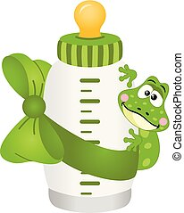 Cute frog with baby milk bottle
