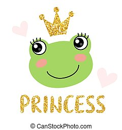 Cute frog with crown