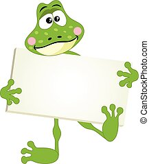 Cute frog with signboard