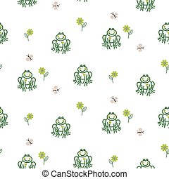 Cute frogs baby seamless vector pattern.