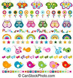 cute, fronteiras, elementos, coloridos