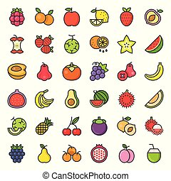 Cute fruit and berries filled outline icon set 2