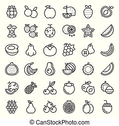 Cute fruit and berries outline icon set 2