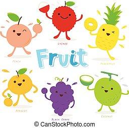 Cute Fruit Cartoon Character Vector