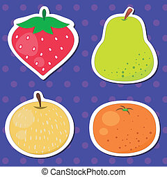 four cute fruits with strawberry, pear, Mandarin orange, and Japanese Pear.