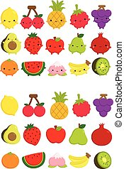 Cute Fruit Icon Vector Set