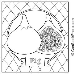 cute fruit illustration for coloring book