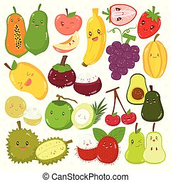 Cute Fruits with Happy Faces Vector Set