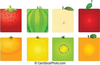 cute, fruta, fundos