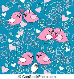 cute, fundo, com, pássaros, corações, e, flores