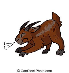 Cute funny angry brown billy goat about to charge in naive style vector clipart. Alpine baby goat with horns. Kawaii funny farm animal illustration. Isolated livestock doodle. EPS 10.