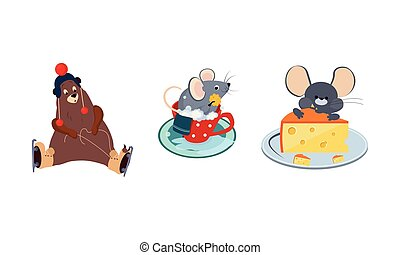 Cute funny animals characters in different actions, bear skating, mouse bathing in the cup, mouse eating a big piece of cheese vector Illustration