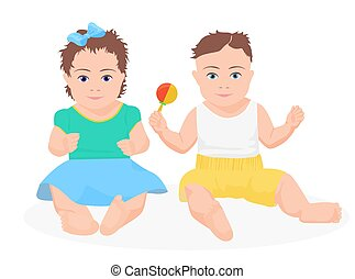 Cute funny baby boy and girl sitting together. Vector illustration.
