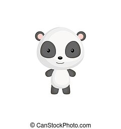Cute funny baby panda isolated on white background. Wild adorable animal character for design of album, scrapbook, card and invitation. Flat cartoon colorful vector illustration.