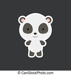 Cute funny baby panda sticker. Adorable animal character for design of album, scrapbook, card, poster, invitation