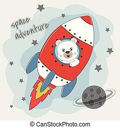 Cute funny bear astronaut flying on a rocket.
