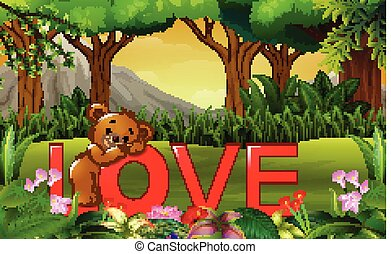 Cute funny bear on the red word LOVE on the nature