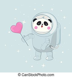 Cute funny bear panda astronaut in space with a pink heart.
