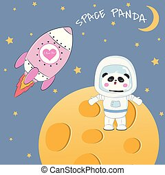 Cute funny bear panda astronaut standing on the moon. Rocket...