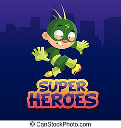 Cute funny boy character in a green superhero costume cartoon vector Illustration