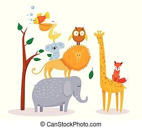 Cute funny cartoon animals Lion, giraffe, elephant, fox, owl.