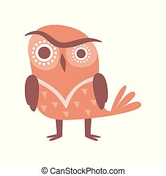 Cute funny cartoon brown owlet bird character vector Illustration on a white background