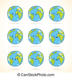 Cute funny cartoon Earth globe with face emotions