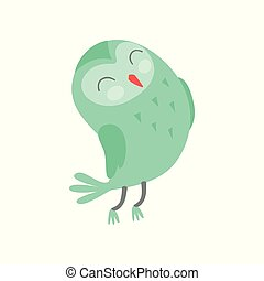 Cute funny cartoon green owlet bird character with closed eyes vector Illustration on a white background