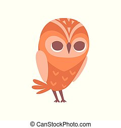 Cute funny cartoon owlet bird character vector Illustration on a white background