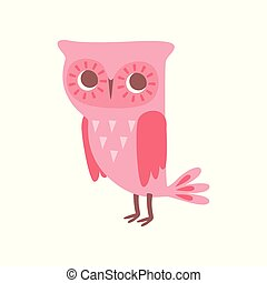 Cute funny cartoon pink owlet bird character vector Illustration on a white background