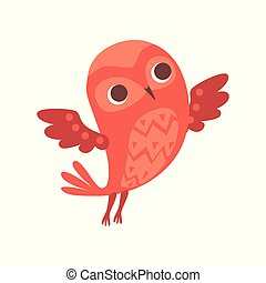 Cute funny cartoon red owlet bird character vector Illustration on a white background