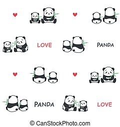 Cute funny cartoon style panda bear parent and child family with bamboo vector pattern illustration.