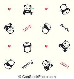 Cute funny cartoon style panda bear vector seamless pattern illustration.