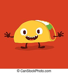Cute Funny Cartoon Taco