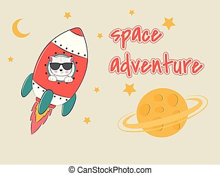 Cute funny cat astronaut in glasses flying on a rocket. ...