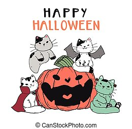 cute funny cat friend gang group in Halloween costume with smile craved pumpkin flat vector doodle cartoon clip art element for sticker, planner, greeting card, printable, nuresery wall art.