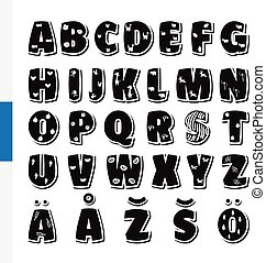 Cute funny childish Finnish alphabet. Vector font...