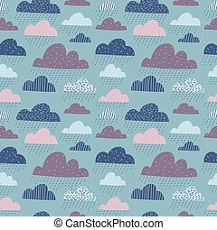 Cute funny clouds seamless pattern