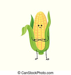 Cute funny corncob with yellow corns and green leaves cartoon character vector Illustration