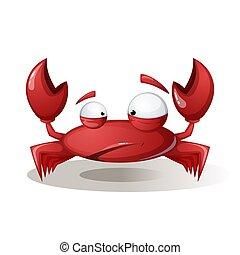 Cute, funny crab - cartoon illustration.