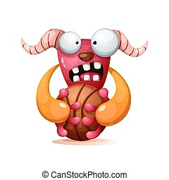 Cute, funny, crazy monster illustration. Play basketball.