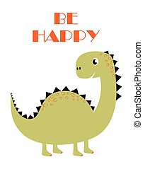cute funny dinosaur isolated