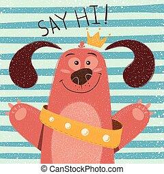 Cute, funny dog - cartoon illustration.