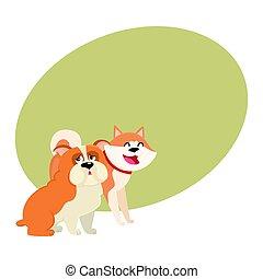 Cute, funny dog characters - Japanese akita inu and English bulldog