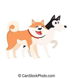 Cute, funny dog characters - Japanese akita inu and husky