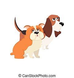 Cute, funny dog characters - Jbasset hound and English bulldog