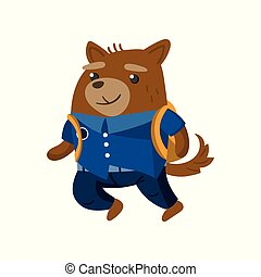 Cute funny dog student, pupil animal in a blue school uniform, back to school concept vector Illustration
