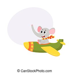 Cute funny elephant pilot character flying on airplane, cartoon illustration