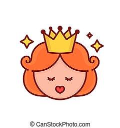 Cute funny girl princess face.Vector