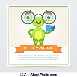 Cute funny green monster with glasses and book, happy monsters banner cartoon vector element for website or mobile app